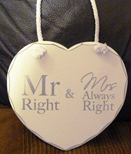 mr right & mrs always right hear plaque