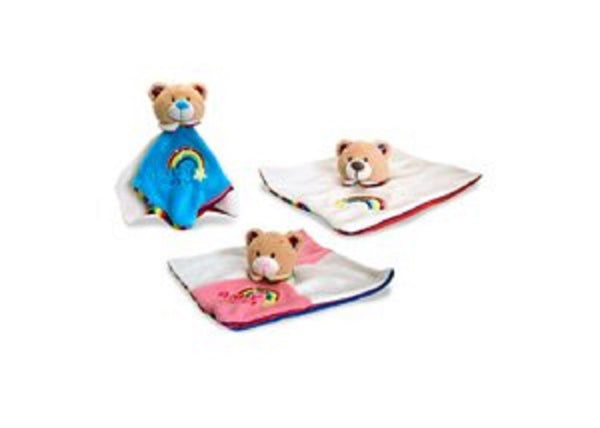 Keel Toys Rainbow Nursery Teddy Baby Comforter Blanket 26 cm - Cream - hanrattycraftsgifts.co.uk