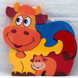 Traditional Wood'n'Fun: Baby/Toodler Wooden Colourful Puzzle Cow and Calf - hanrattycraftsgifts.co.uk