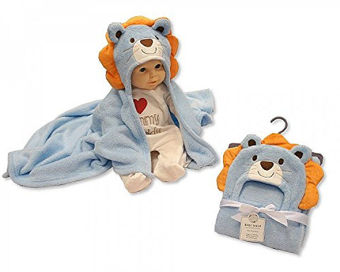 Snuggle Baby Fleece Lion Hooded Baby Wrap - Blue/orange - hanrattycraftsgifts.co.uk