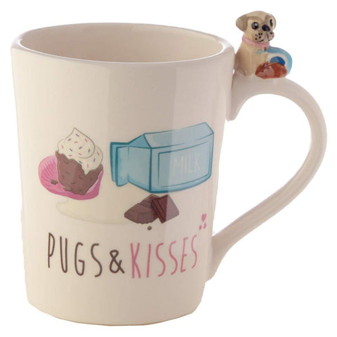Cute Ceramic Pug Mug with Pug & Cookies on the Handle - hanrattycraftsgifts.co.uk