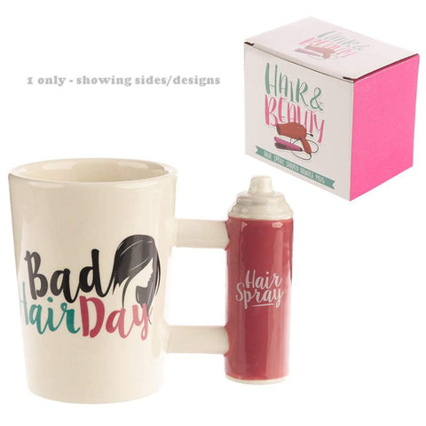 Ceramic Shaped Handle Hair Spray Mug with Bad Hair Day Decal - hanrattycraftsgifts.co.uk