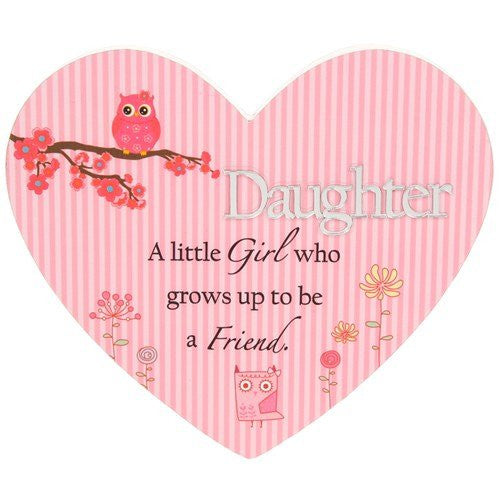 Daughter Pretty Reflections Heart Plaque Lovely Gift - hanrattycraftsgifts.co.uk