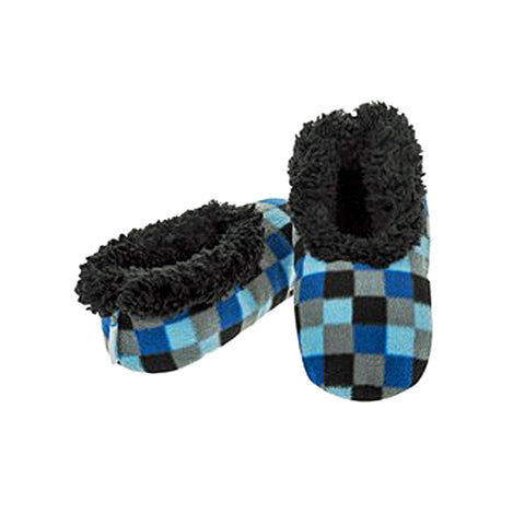 Boys Checkerboard Fun Kids Snoozies Slippers - hanrattycraftsgifts.co.uk