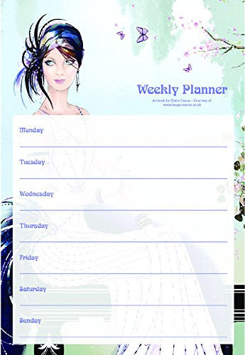 Robert Frederick Claire Coxon Art Deco Lady on Balcony A4 Weekly Planner, Assorted