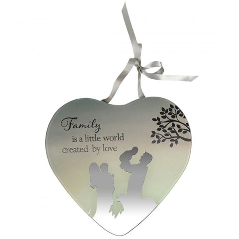 Family is a little world created by love Reflections from the Heart Mirrored Hanging Plaque