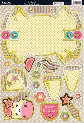 Wobbler Die-Cut Punch-Out Card 2-Sheet Pack-Starbright Yellow/Pink - hanrattycraftsgifts.co.uk