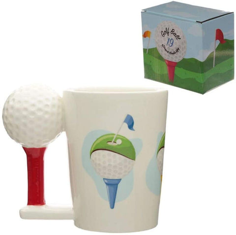 Ceramic Breakfast Mug Cup with Golf Ball and Tee Shaped Handle