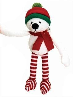 MaSaYa Classic Collection Christmas Hanging Character with Velcro Hands by Keel Toys - POLAR BEAR - hanrattycraftsgifts.co.uk