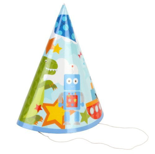 Kiddiwinks Pack of 8 Party Hats - Boy Design