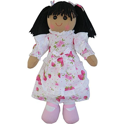 Rag Doll - Strawberry Dress - Handmade - Medium 19cms - Powell Craft - hanrattycraftsgifts.co.uk