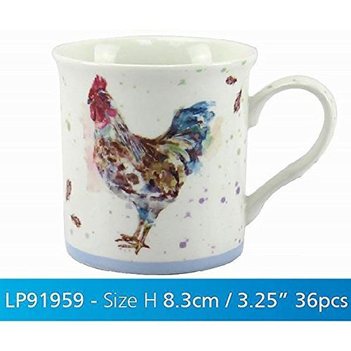 Lesser & Pavey 3.25-Inch  Fine China/Porcelain Country Cockerel Suffolk Mug, Multi-Colour - hanrattycraftsgifts.co.uk
