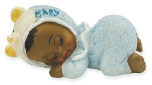 CAKE TOPPER RESIN SLEEPING BLACK BABY BOY IN BLUE FROM CLUB GREEN - hanrattycraftsgifts.co.uk
