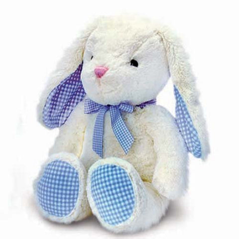 Baby Boys Gorgeous Cream Bunny Rabbit With Blue Gingham Detailing - Size 25cm - hanrattycraftsgifts.co.uk