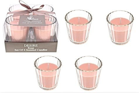 Desire Rose Set Of 4 Scented Candles - hanrattycraftsgifts.co.uk