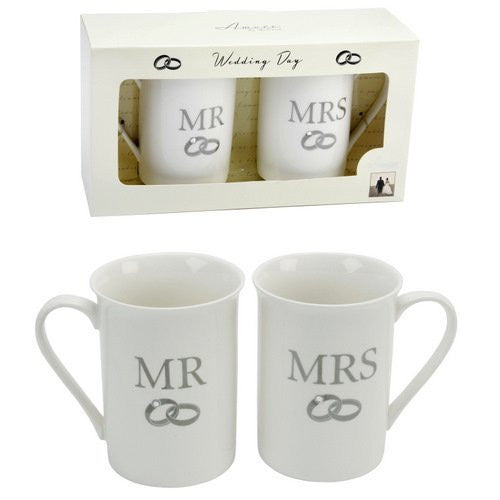 Amore Set of 2 Bone China Mugs with Crystal - Mr & Mrs - hanrattycraftsgifts.co.uk