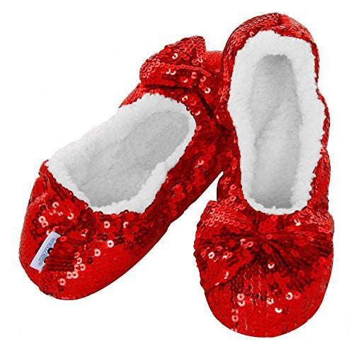Ladies Christmas Red Sequin Bling-It-On Snoozies Slippers ~ Sherpa Fleece & Non-Slip Sole ~ Ballerina Style ~ Various Sizes 3-7 ~ S / M / L (LADIES SMALL UK 3-4) - hanrattycraftsgifts.co.uk