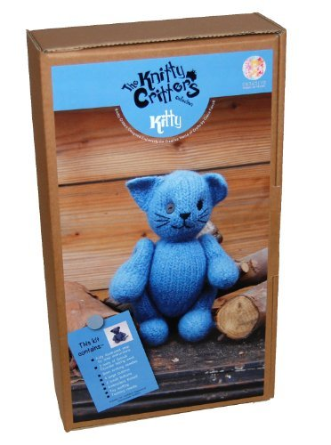 Knitty Critters Knit and Felt Toy Kit Kitty, Blue - hanrattycraftsgifts.co.uk