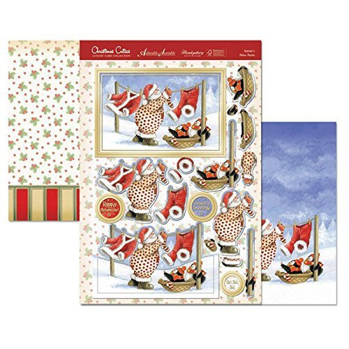 hunkydory  christmas cuties santa s new pants  topper set - hanrattycraftsgifts.co.uk