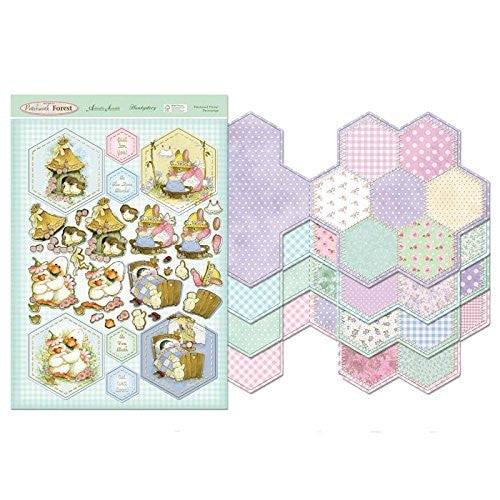 hunkydory  return to patchwork forest patchwork flower card kit - hanrattycraftsgifts.co.uk
