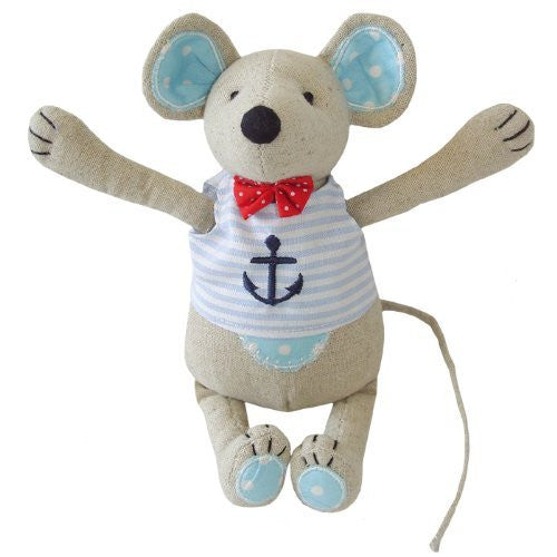 powell craft Mouse - Medium Boy with Blue Anchor - 20cm - hanrattycraftsgifts.co.uk