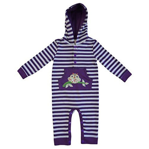 powell craft owl purple strippy hooded jumpsuit 6 - 12 months