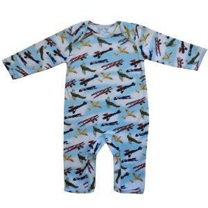 Powell Craft 100% Cotton Vintage Aeroplane Spitfire Design Jumpsuit Long Sleeve Baby Boys Romper - 0-6 Months