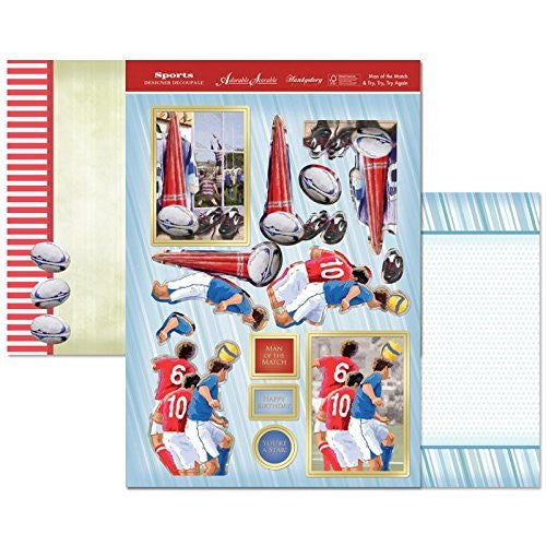 hunkydory sports & leisure time designer decoupage set man of the match & try,try,try again - hanrattycraftsgifts.co.uk