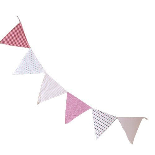 powell craft Bunting - Pink - 3m - Double Sided - 100% Cotton - Powell Craft - hanrattycraftsgifts.co.uk