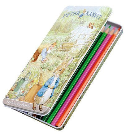peter rabbit  12 colouring pencils in tin - hanrattycraftsgifts.co.uk