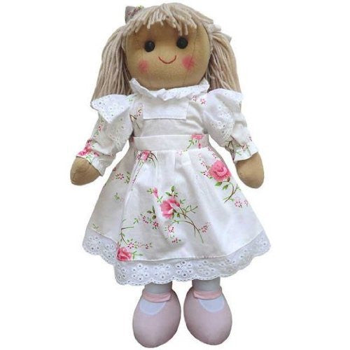 Powell Craft Large Rag Doll with white flowery Dress - 40cm - hanrattycraftsgifts.co.uk