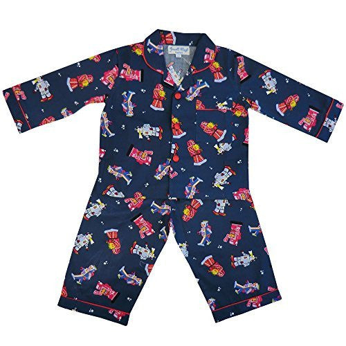 Powell Craft Big Boys Cotton Robot Pyjamas. navy (2-3 years) - hanrattycraftsgifts.co.uk