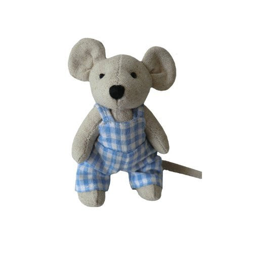 powell craft Mouse - Small Boy with Blue Dungarees - 10cm - hanrattycraftsgifts.co.uk