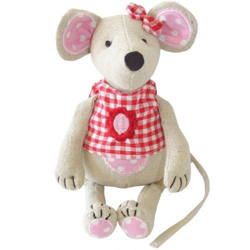 Powell Craft mouse with red gingham top & bow 20cm
