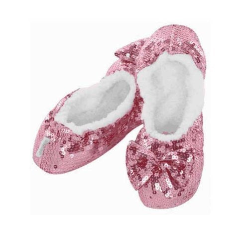 Snoozies Ballerina Bling Kids Childrens Fluffy Slippers (Medium | 1-2, Pink) - hanrattycraftsgifts.co.uk