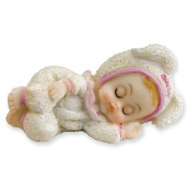club green white /pink baby sleeping cake topper - hanrattycraftsgifts.co.uk