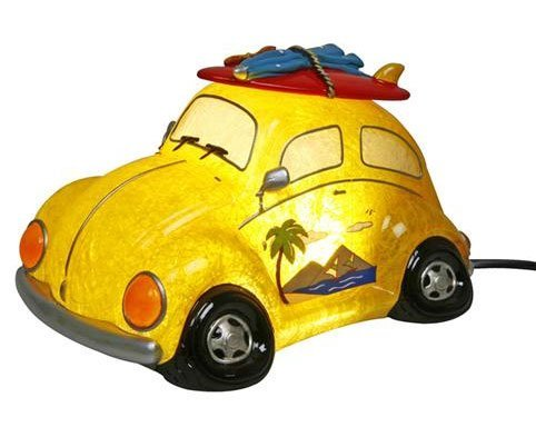 CHILDS NIGHT GLOW LAMP NIGHT LIGHT YELLOW BEETLE SURF BOARD 19164 - hanrattycraftsgifts.co.uk