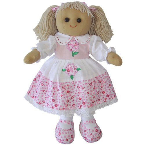 Small Powell Craft Pink Flower Rag Doll 19cm - hanrattycraftsgifts.co.uk