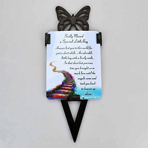 Little Boy Memorial Remembrance Verse With Grave Butterfly Ground Stake - hanrattycraftsgifts.co.uk