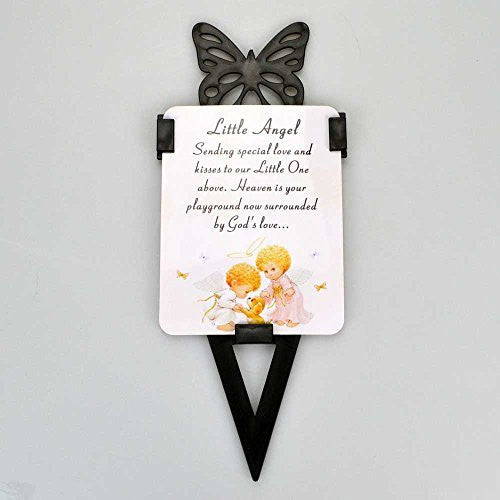 Little Angel Memorial Remembrance Verse With Grave Butterfly Ground Stake - hanrattycraftsgifts.co.uk