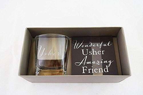 Usher Whiskey Glass & Coaster Gift Set Wedding Day Favour From Groom Present Set - hanrattycraftsgifts.co.uk