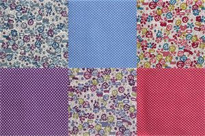 Sew Easy Staples : Dotty Floral Pink / Blue / Purple - 6 Fat Quarters - hanrattycraftsgifts.co.uk