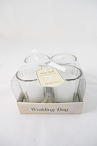 Vintage Wedding Day Scented Votive Candles Set of Four Rose In Box - hanrattycraftsgifts.co.uk