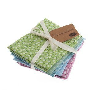 Sew Easy Staples : Mini Green, Blue & Pink Floral - 6 Fat Quarters - hanrattycraftsgifts.co.uk