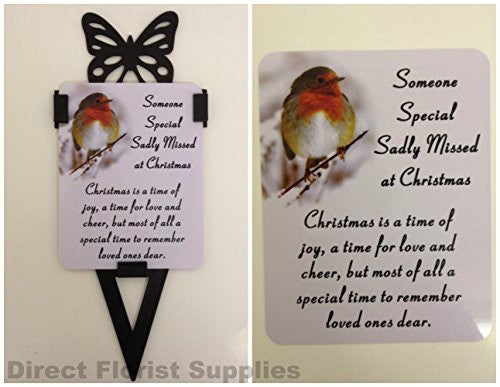 Someone Special Christmas Robin Memorial Card, Graveside Tribute Garden Spike with Butterfly - hanrattycraftsgifts.co.uk