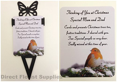 Special Mum And Dad Christmas Robin Memorial Card, Graveside Tribute Garden Spike with Butterfly