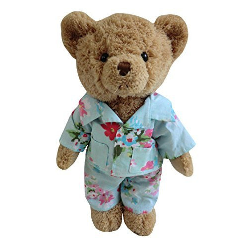 TEDDY BEAR WITH BLUE FLORAL PJ'S - hanrattycraftsgifts.co.uk