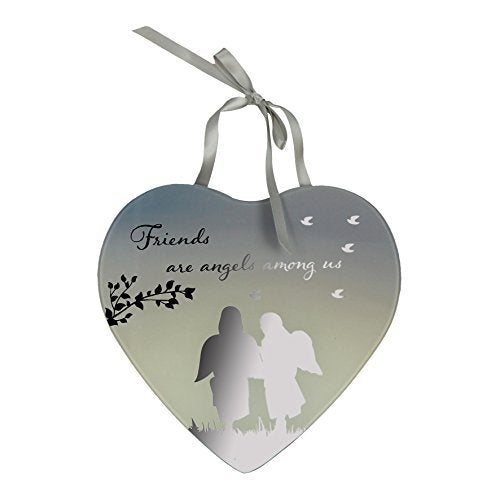 Reflections From The Heart Mirror Plaque - Friends are Angels Among Us - hanrattycraftsgifts.co.uk