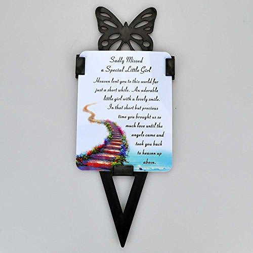 Little Girl Memorial Remembrance Verse With Grave Butterfly Ground Stake - hanrattycraftsgifts.co.uk