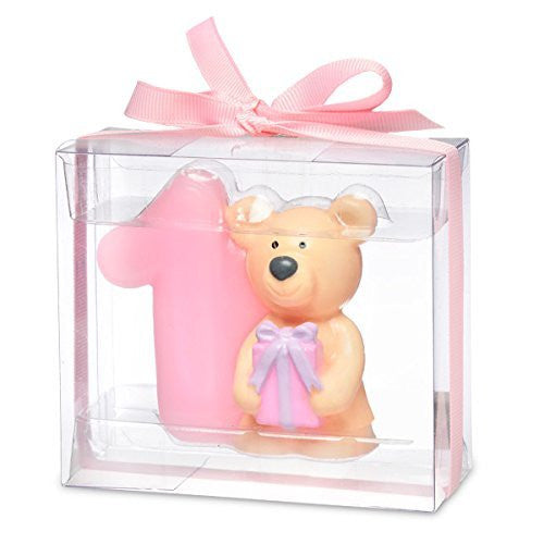 Teddy bear with number 1. 80 x 35 x 70mm. pink - hanrattycraftsgifts.co.uk